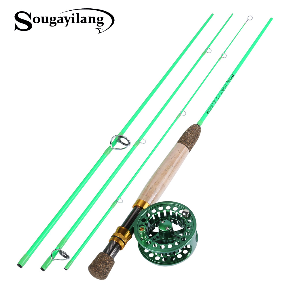 Sougayilang 2 25M Fly fishing Rod for 4 Sections Fly Rod Reel line Combo Set Super