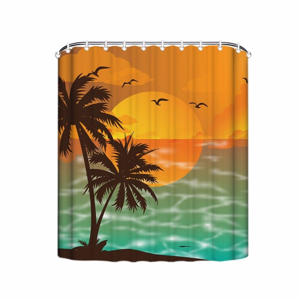 Holiday Style Shower Curtain,Tropical Beach Scenic Bathroom Curtain ...