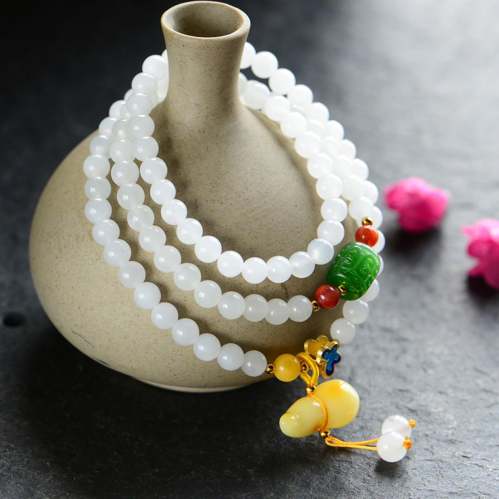 Handmade Authentic Hetian Bracelets 6mm handmade authentic hetian crystal budda bracelets