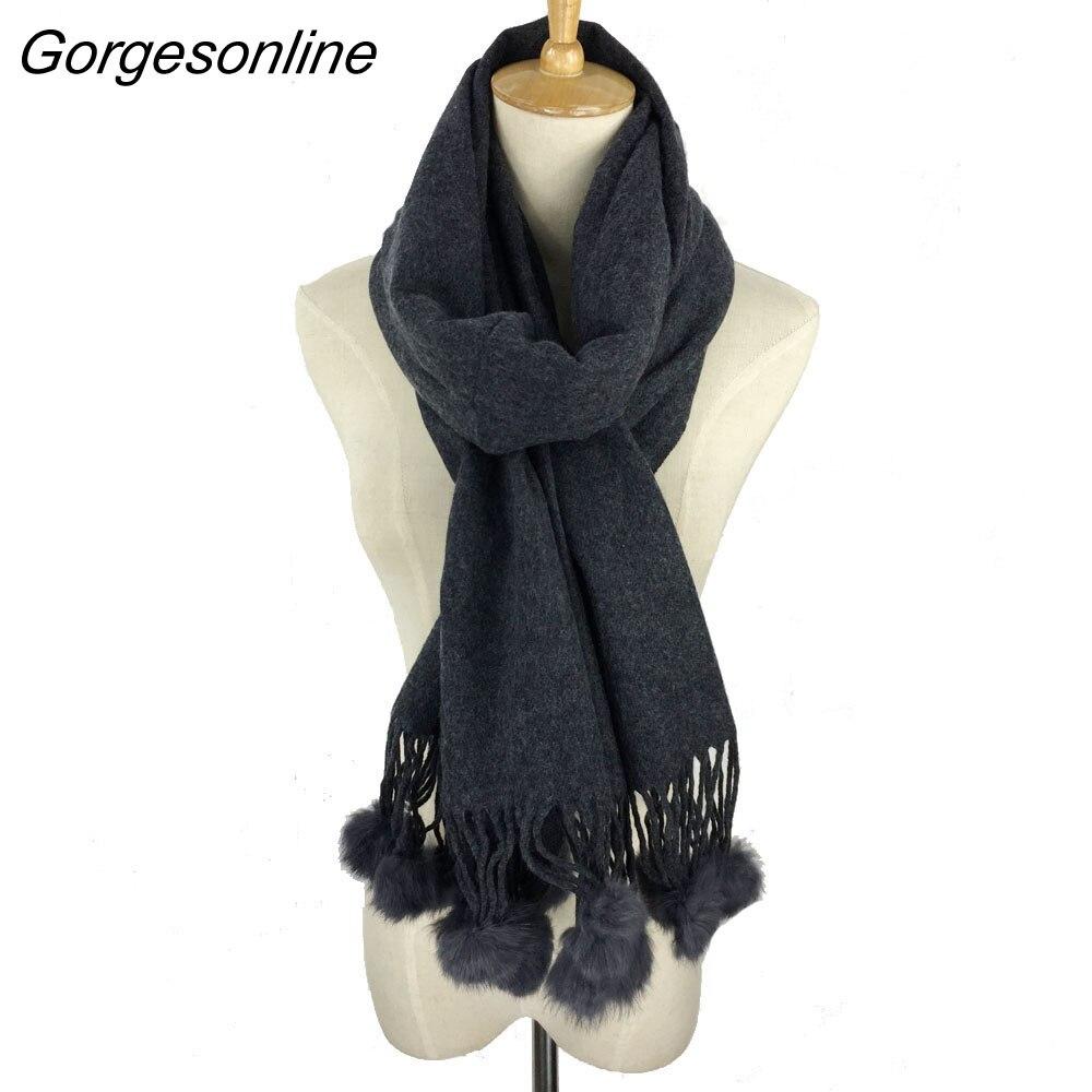 2018 Classic Cashmere Wool 100% Solid Warm Comfortable Women Winter Scarf Ladies Wrap Rabbit Fur Pom Pom Pashmina Wear Scarfs