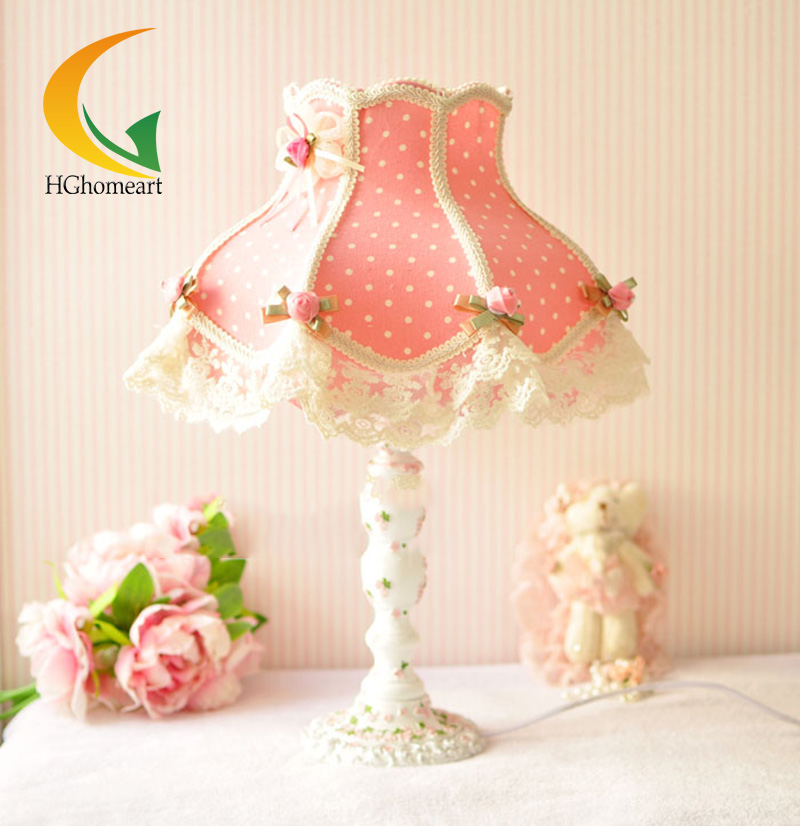 European-style garden table lamp fabric lace desk lamp pink princess wedding european style garden princess bedroom bedside lamp shade cloth fabric floral lace crystal simple dimmable