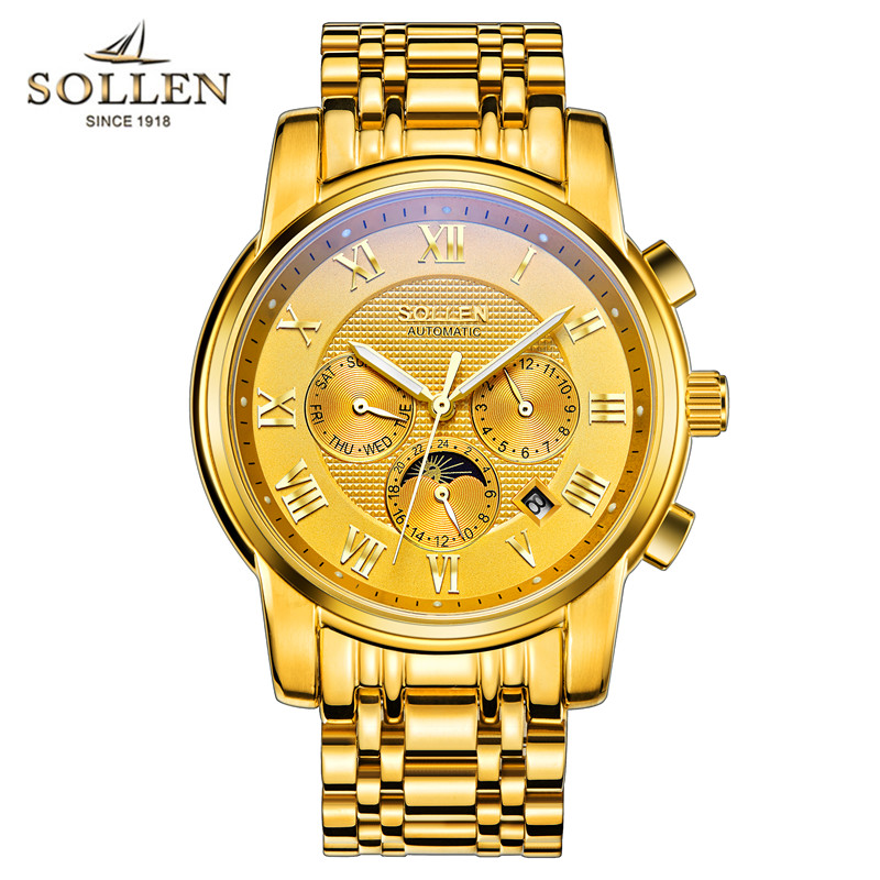 SOLLEN Watch men luxury Top brand Automatic mechanical Watches Business Man Wristwatches Moon Phase Mens Gold Steel Clcok relogi sollen mens watches top brand luxury moon phase automatic mechanical watch men casual fashion leather strap skeleton wristwatch