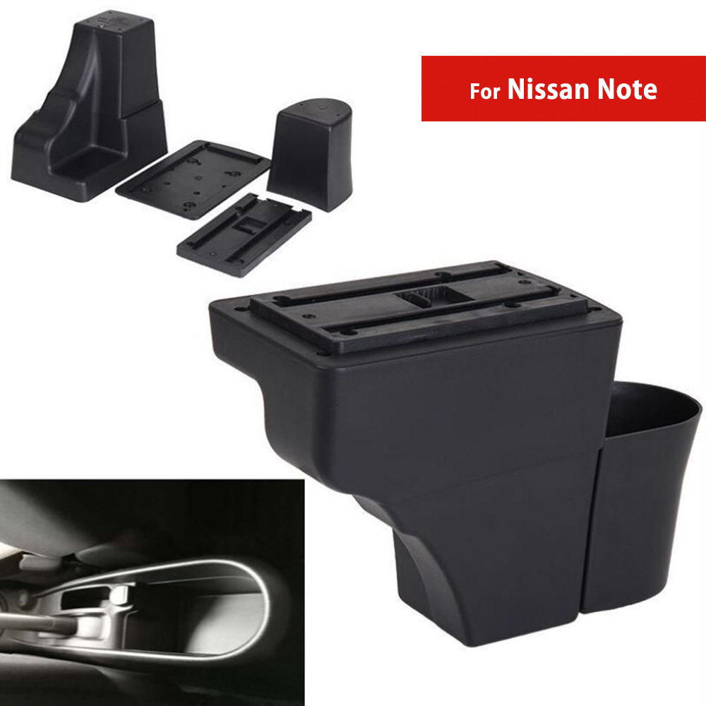 For Nissan Note Car Center Console Box Auto Armrest Storage with CUP Holders