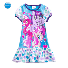 JUXINSU My Baby Girl Summer Little Pony Cartoon Girls Short Sleeve Dresses Wave Point Costume Casual Pony Dress 1-7 Years samgami baby new summer cute dress little girls dress my pony spring girl short sleeve dresses my girls princess for little pony