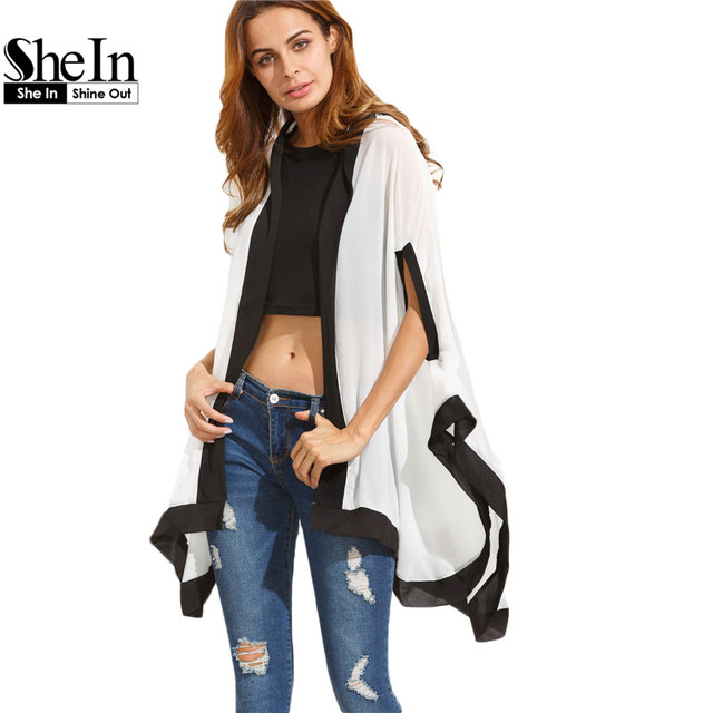 SheIn Summer Casual Women Tops Ladies White Contrast Half Sleeve High Low Hoodie Color Block Loose Chiffon Kimono