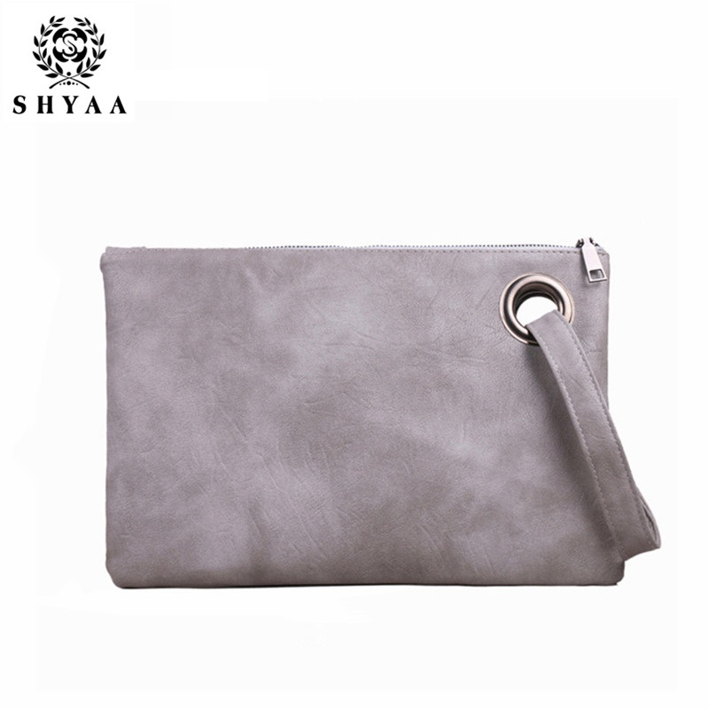 SHYAA 2017 Fashion Women's Solid Leather Bag Women Bag Clutch Handbag Evening Bag Women Messenger Bags
