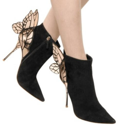 Pointed Toe women shoes Ankle Fashion Back Butterfly High Quality Hot Selling Thin Heels Woman Boots Black Suede Designer glamorous black suede thin high heels butterfly short boots classy women pointed toe stiletto heel ankle boots trendy shoes