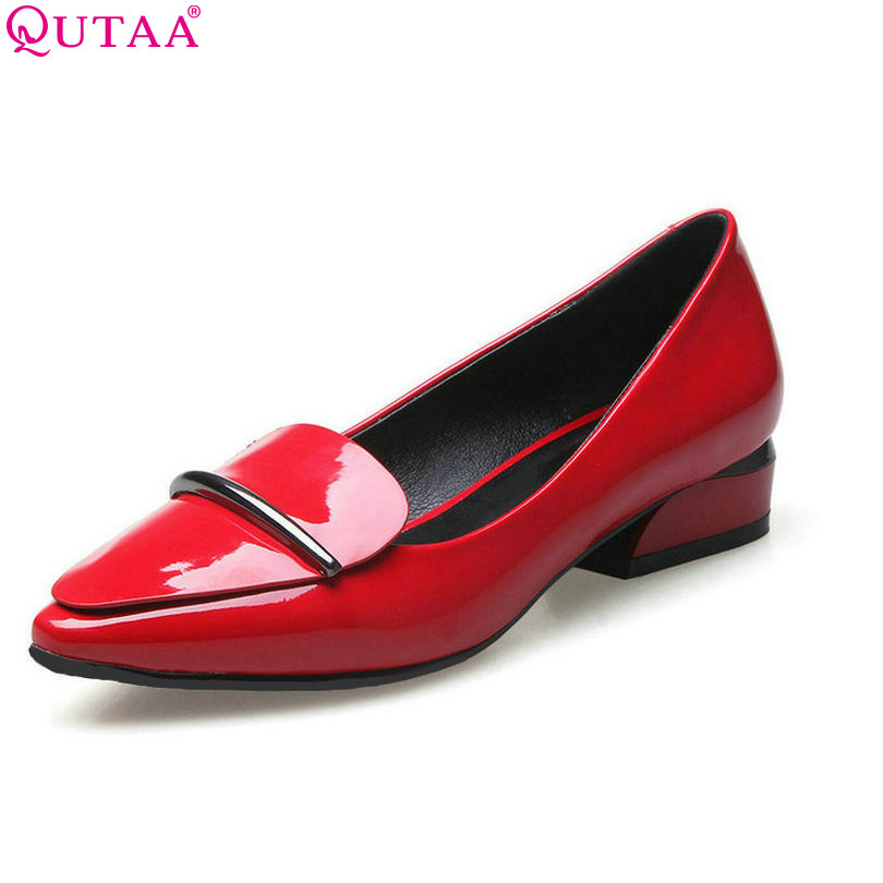 QUTAA 2017 Black Women Pumps Square Low Heel PU Leather Slip On Pointed Toe Platform Autumn Ladies Wedding Shoes Size 34-40 2 2kw 380v vfd variable frequency drive vfd inverter 3hp input 3hp output cnc spindle motor driver speed control