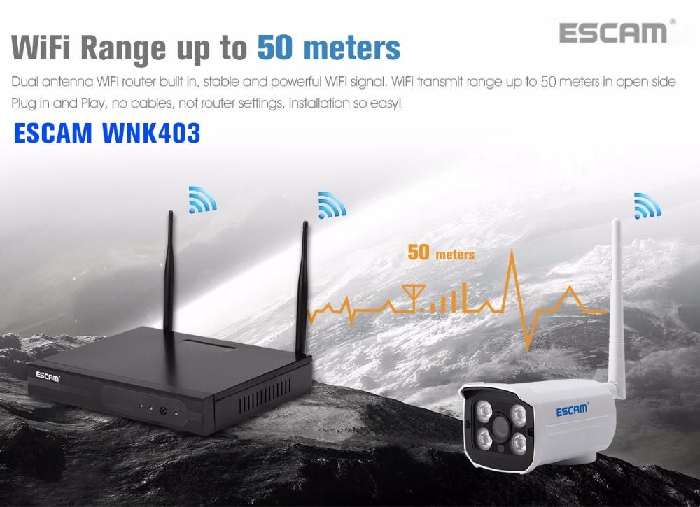 ESCAM 720P 4CH Wirelss IP Camera NVR Kit