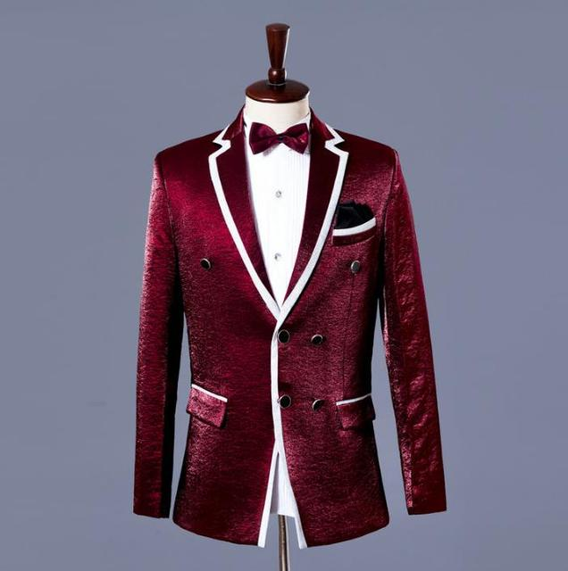 497d2a5f2d69 Blazer men formal dress latest coat pant designs suit men double breasted marriage  wedding suits for men's fashion wine red