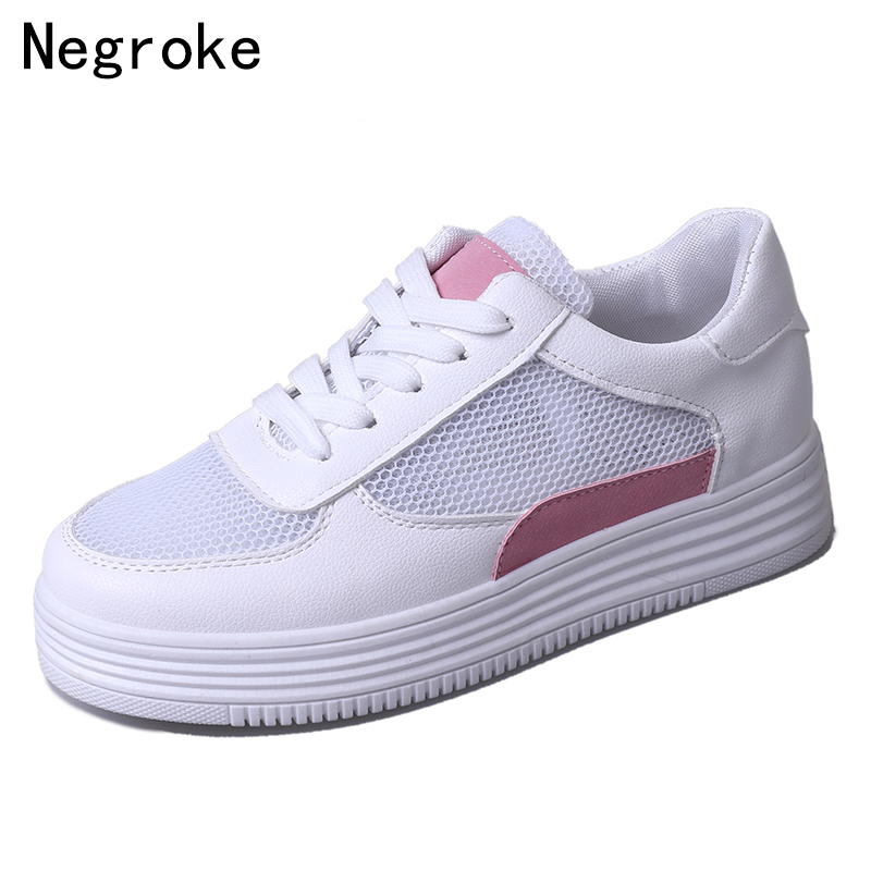 Fashion Sneakers Women Casual Shoes Platform Soft Sole Flats Woman Breathable Mesh Lace Up White Sport Shoes Tenis Feminino