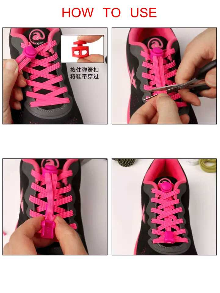 1 คู่ยืด Lock Shoelaces ล็อครองเท้า Laces Unisex เด็กรองเท้าผ้าใบยืดหยุ่น Shoelaces Shoestrings No Tie รองเท้าลูกไม้