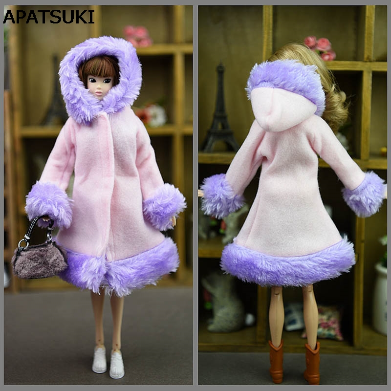 Doll Accessories Winter Wear Warm Coat For Barbie Dolls Fur Doll Clothing Dress Clothes For Barbie 1/6 BJD Doll Kids Toy 2017 new handmade doll clothing chinese ancient costume evening dress for ob27 bjd 1 6 doll body girl toys dolls accessories