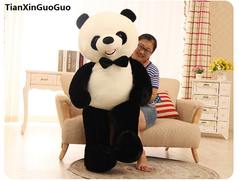 stuffed toy huge 150cm lovely bowtie panda plush toy soft doll hugging pillow birthday gift b2742 lovely giant panda about 70cm plush toy t shirt dress panda doll soft throw pillow christmas birthday gift x023