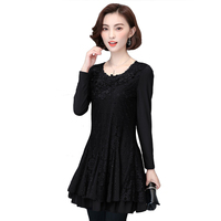 Fashion Autumn Women Lace Dresses Long Sleeves Hollow Out Embroidery Black Dress Female Plus Size Beading Vestido Mujer BH319E