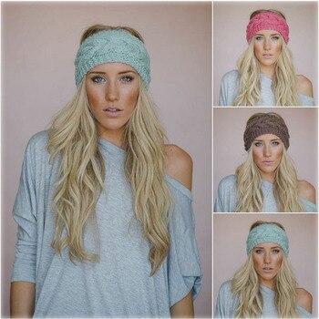 Solid Wide Knitting Woolen Headband Winter Warm Ear Crochet Turban Hair Accessories For Women Girl Band Headwraps - discount item  1% OFF Headwear