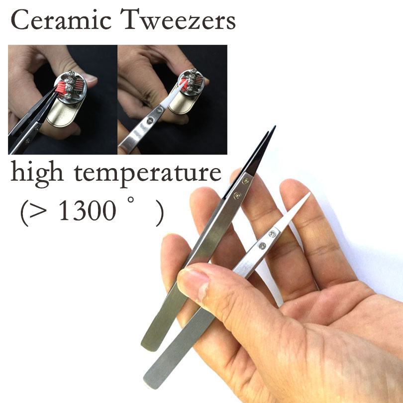 Ceramic Tipped Stainless Steel Tweezer Heat Resistance Fine Pointed Tips DIY Tools Electronic Cigarette For RDA Atomizer Coil