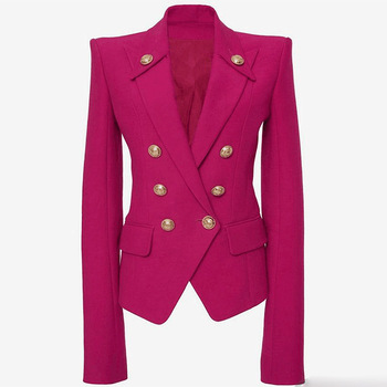 Women Blazers and Jackets High Quality 2019 Autumn Red Blazer Double Breasted Long Sleeve Slim Blazer Elegant Office Ladies coat