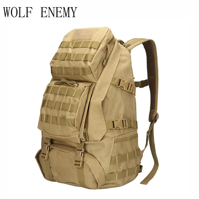 Unisex 55L Camouflage Back Pack Bags Tactical Military Army Molle Backback / Rucksack for Hiking Camping Adventure Travel Bag