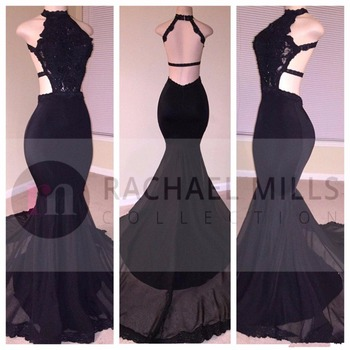 Modest backless black prom dresses mermaid 2017 halter robe de soiree formal party dress celebrity evening.jpg 350x350