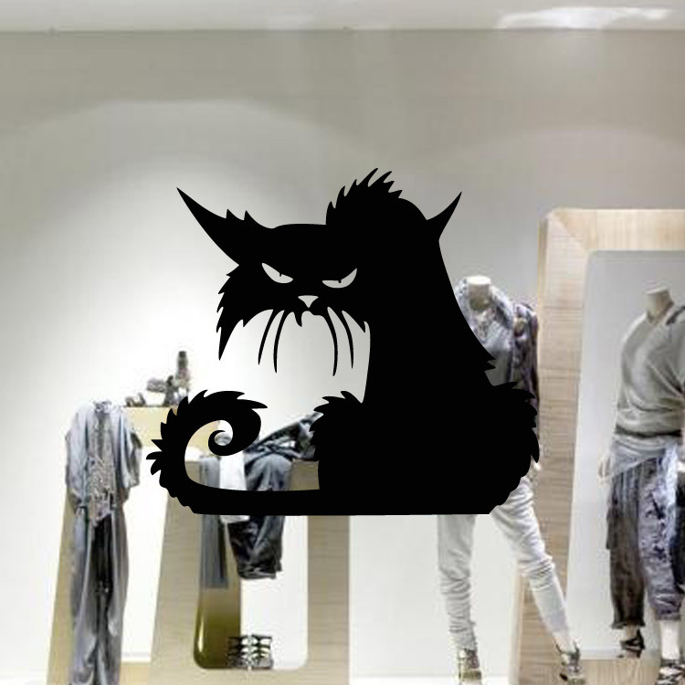awoo halloween cat sticker 4237cm removable cute black cat lovely glass wall sticker vinyl - Halloween Cat Decorations