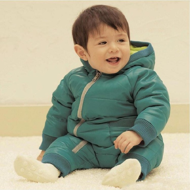 2016 New Winter Overalls for Girls Cotton Thick Padded Baby Down Coat Outwear Fashion Snowsuit Down Jacket 4 Color Overalls