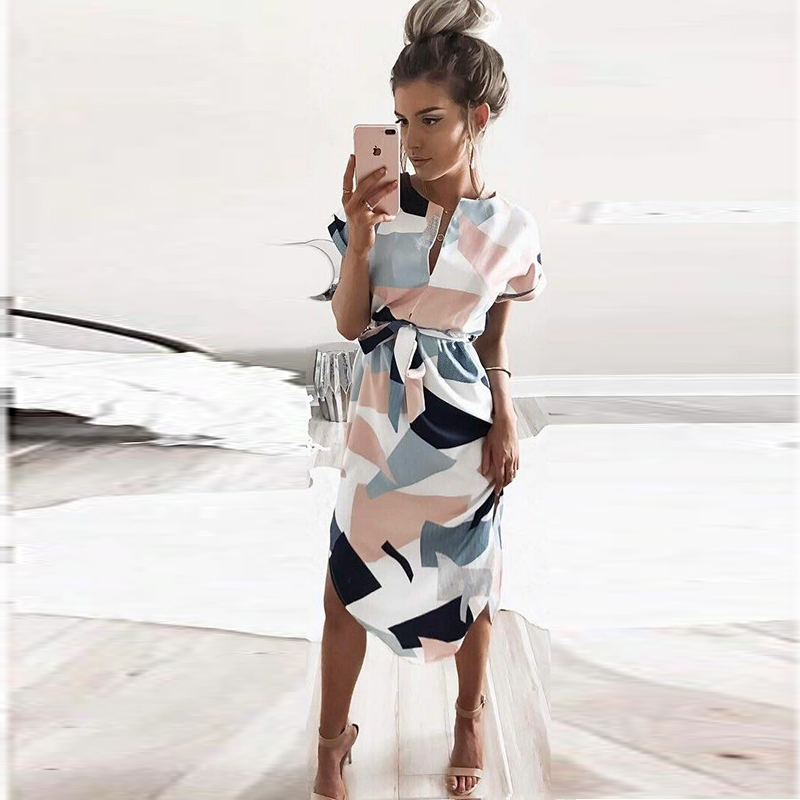 Summer Style Dress 2017 Casual Asymmetrical Geometric Printing Short Sash Knee Length Dress O Neck Elegant