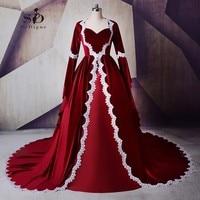 Long Sleeve Muslim Dress Moroccan Dress Burgundy Vintage Evening Dresses Velvet With Delicate Appliques Evening Gowns