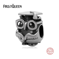 FirstQueen High Quality Owl Glasses 925 Beads 100% Real S925 Silver Charms Fit Original Bracelets Fine Jewelry Wholesale