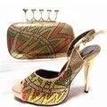 Zapatos y Bolsa de Oro Zapatos Africanos y Bolso para el Partido En las mujeres de Alta Calidad Zapatos A Juego Italiano y Juego de Bolsa Bolsa de Zapatos de Boda