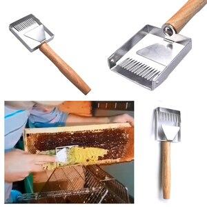 Image 5 - 2 en 1, colmena de abeja de acero inoxidable, desenredar, tenedor de miel, rascador, pala, apicultura, herramienta de corte, herramientas para exteriores