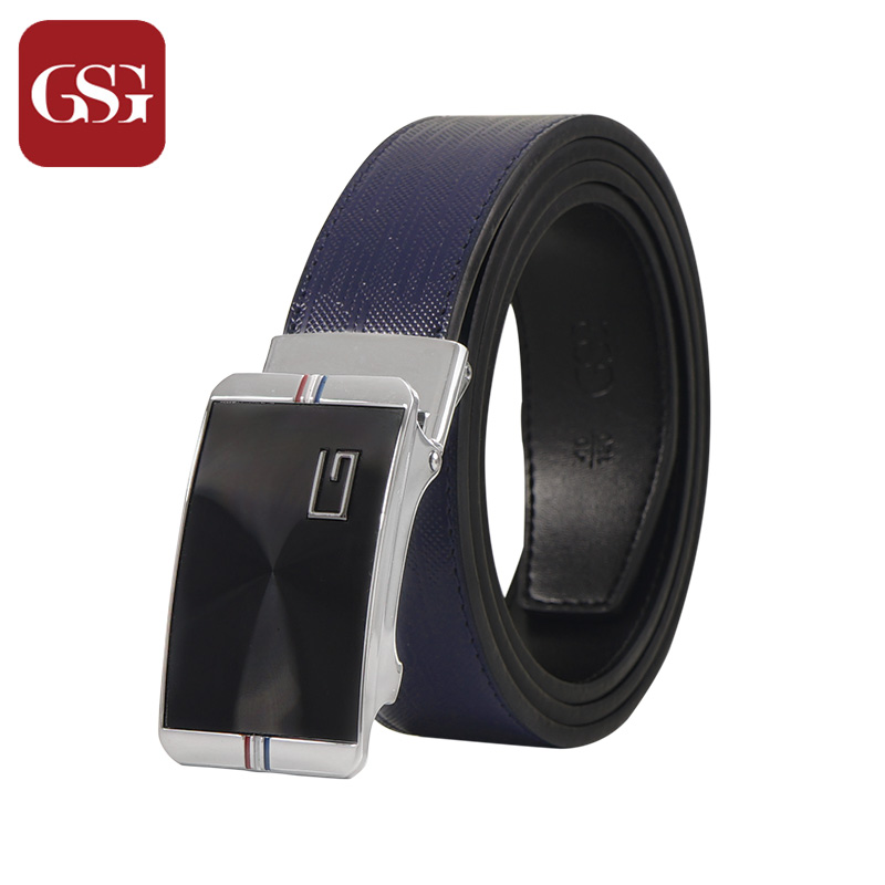 GSG Mens Leather Belts Cowhide Genunie Leather Automatic Buckle Mens Belts Wide Long Embossing Printed Mens Casual Belts 120 115