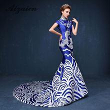 Купить с кэшбэком Elegant Blue Porcelain Chinese Sexy Traditional Oriental Evening Dress Women For Wedding Party Backless Cheongsam Free Custom