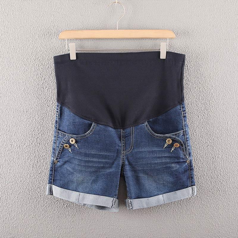 Summer Denim Maternity Shorts for Pregnant Women Pockets High Waist Jeans Care Belly Pants S7JN