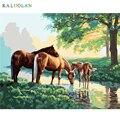 Rahmenlose bild auf wand acryl ölgemälde durch zahlen Drei pferde abstrakte zeichnung von zahlen einzigartiges geschenk malen nach zahlen-in Malerei und Kalligraphie aus Heim und Garten bei