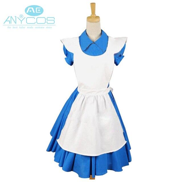 a21c29fc841 Film Alice au pays des merveilles Cosplay Costume bleu Alice uniforme robe  tablier Halloween Cosplay Costumes
