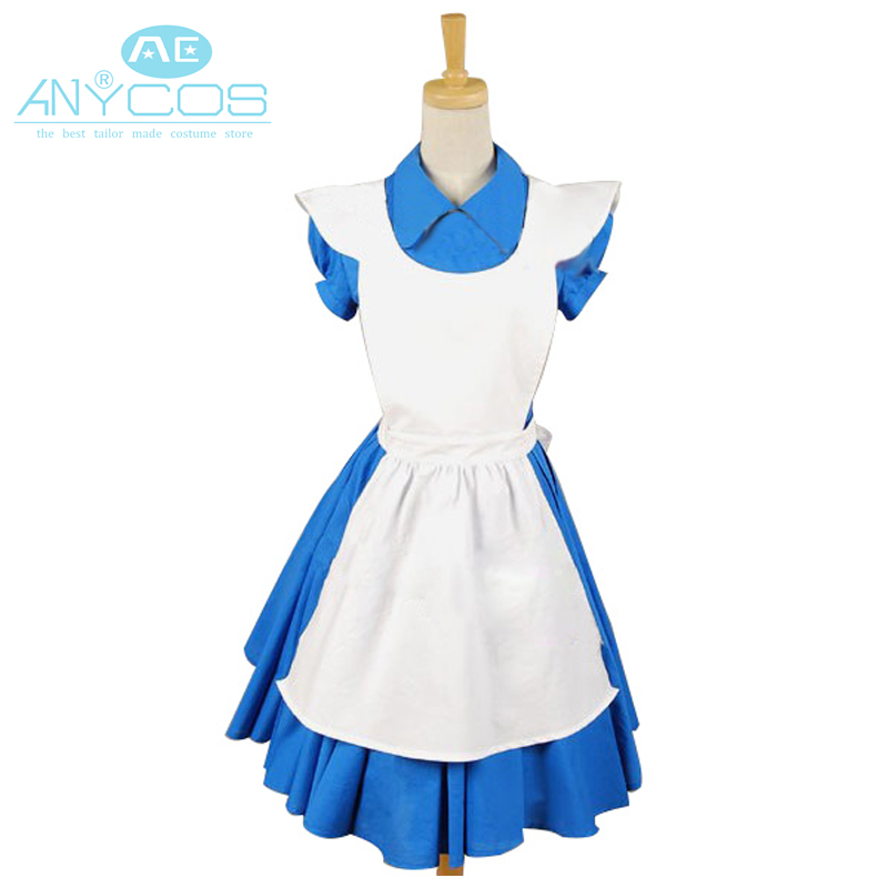 Movie Alice In Wonderland Cosplay Costume Blue Alice Uniform Dress Apron Halloween Cosplay Costumes For Women Custom Made