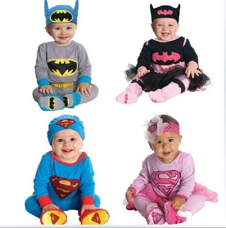 2015 новая коллекция весна осень комбинезон девушки парни комплект супермен супергерл бэтмен моделирование комбинезон + лента на шляпе бабий костюмы одежда