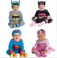 2015 nueva primavera mamelucos del bebé del otoño muchachos de las muchachas de superman batman supergirl modelado mono + hat hatband babi trajes de ropa