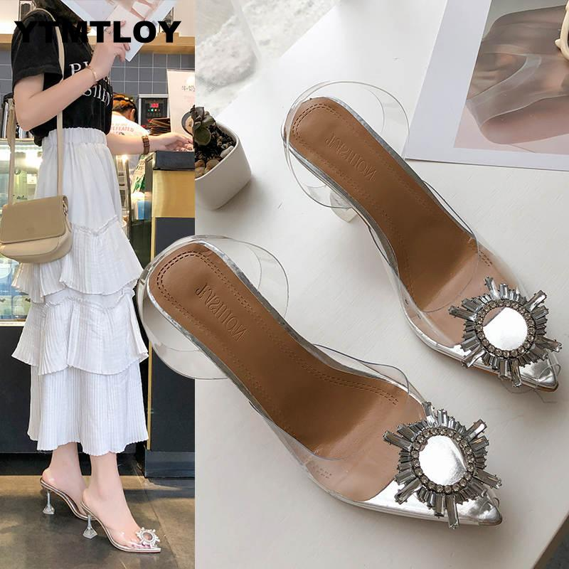 Luxury  Women Pumps 2019 Transparent High Heels Sexy Pointed Toe Slip-on Wedding Party Brand Fashion Shoes For Lady  PVC 2