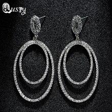 Women's Fashion Earrings Multilayer Oval Geometric Chandelier Dangle Rose Crystal Earring Women Evening Party Wedding Bridal Ec