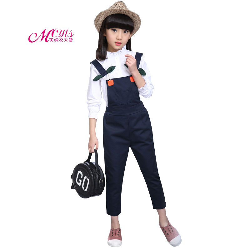 2018 Spring Autumn Girls Clothing Sets Cotton White Shirt+Bib Pants 2Pcs/Set Teenage Clothes Suit for Girls 4 6 8 10 12 Years children clothing sets for teenage boys and girls camouflage sports clothing spring autumn kids clothes suit 4 6 8 10 12 14 year