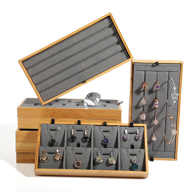 New Fashion Gray Color Nature Bamboo Jewelry Display Tray Ring, Pendant, Diamond, Bracelets, Earrings Display Plate