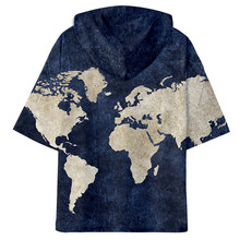 3D Print World Map Style short-sleeved hoodie Sweatshirt summer hip hop 2019 fashion trend hooded short sleeve sweatshirt(China)