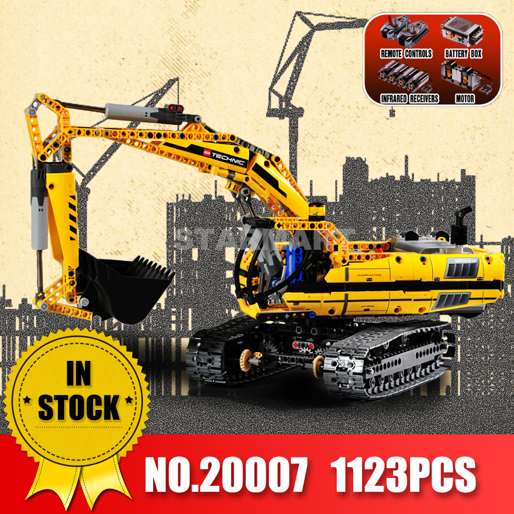 LEPIN 20007 technic series MOTORIZED EXCAVATOR Building blocks Compatible Toy Christmas Gift legoingdy 8043 Educational Car 196pcs building blocks urban engineering team excavator modeling design