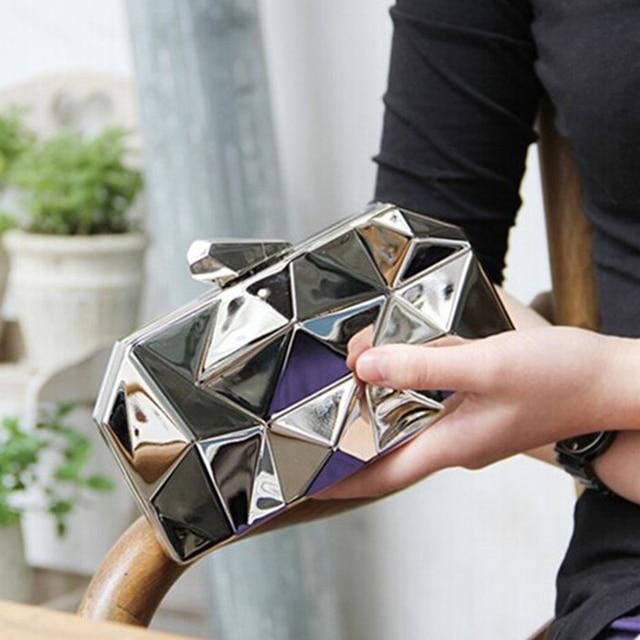 New Europe and American Style Women Metal Clutch Fashion Classic Mini Handbag Lady Party Shoulder Messenger Bag Nightclub Bag