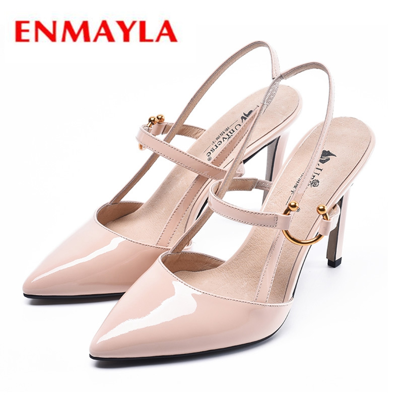 ENMAYLA New Arrival Women Fashion High Heel Pumps 2019 Basic Genuine Leather  Pointed Toe  Casual  Shoes Woman Size 34-39 LY1021ENMAYLA New Arrival Women Fashion High Heel Pumps 2019 Basic Genuine Leather  Pointed Toe  Casual  Shoes Woman Size 34-39 LY1021