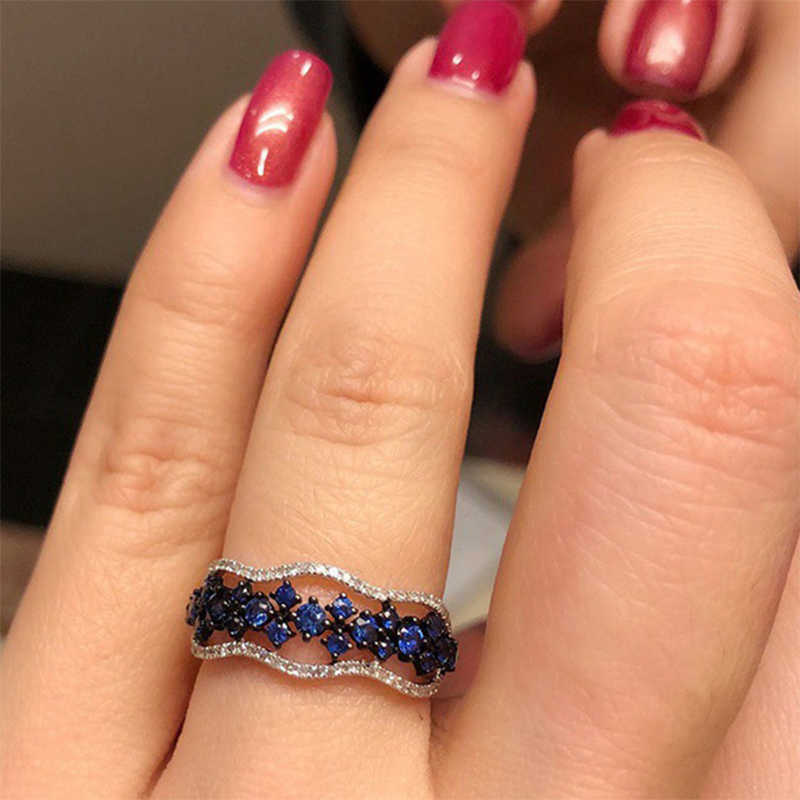 2019 New Hot Selling Fashion Women Girls Blue Flower Ring 925 Silver CZ Stone Ring Promise Engagement Rings For Women Best Gifts