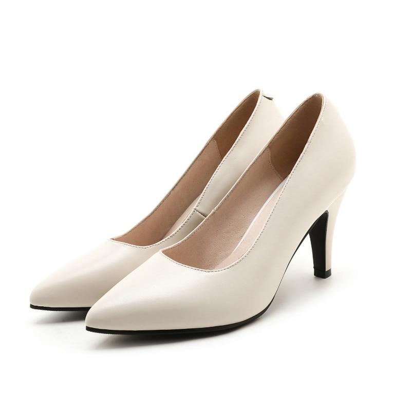 Puro Genuino Mujeres De negro Mano Puntiagudos Oficina Tacón Hecho Bombas Producto Zapatos Alto Beige Top Cuero A YwwTBqv1