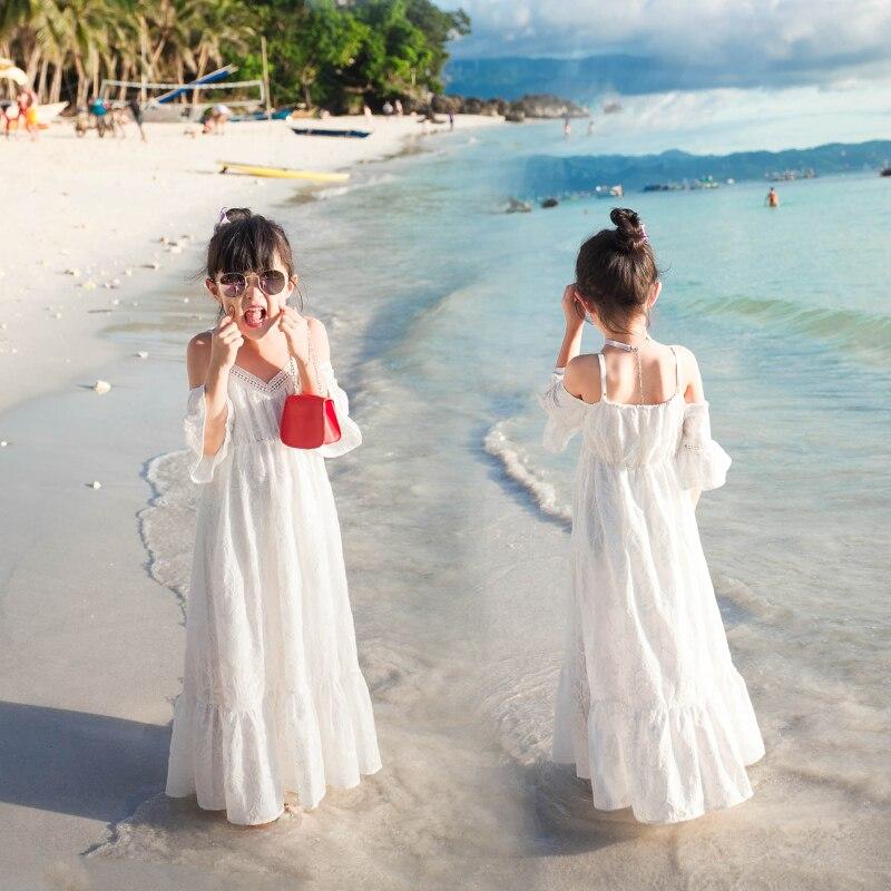 Vacances famille correspondant mère fille robes vêtements pur coton maman et fille robe parent enfant tenues plage robe